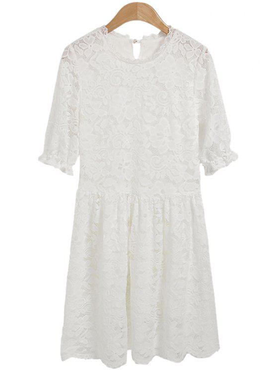 fashion Solid Color Openwork Lace Dress - WHITE M