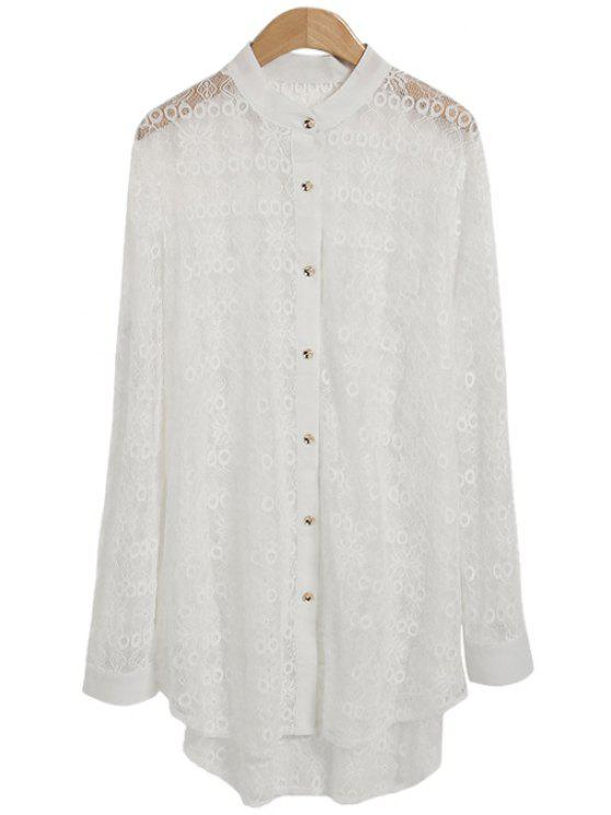 trendy Lace See-Through Solid Color Shirt - WHITE ONE SIZE(FIT SIZE XS TO M)