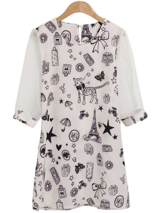 best Star Cat Bowknot Print Half Sleeve Dress - WHITE M