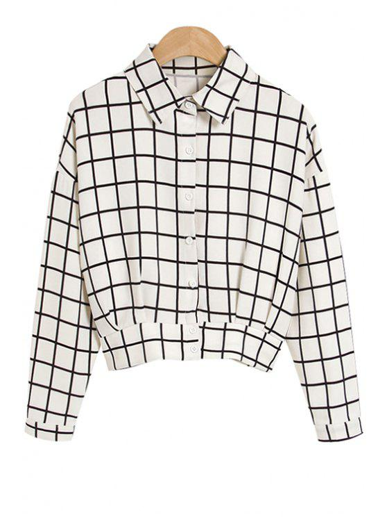 chic Polo Collar Color Block Plaid Shirt - WHITE S