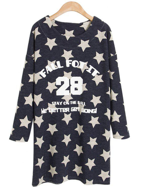 women's Star and Letter Print Long Sleeve T-Shirt - PURPLISH BLUE ONE SIZE(FIT SIZE XS TO M)