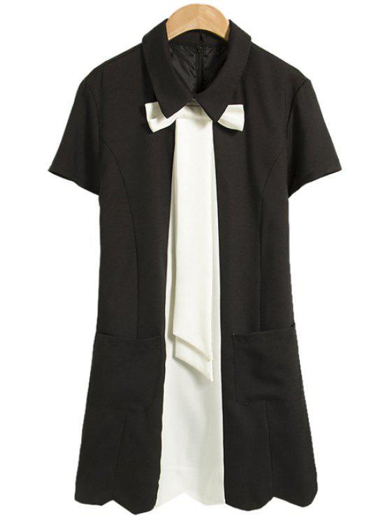 outfits Color Block Bowknot Short Sleeve Dress - BLACK M