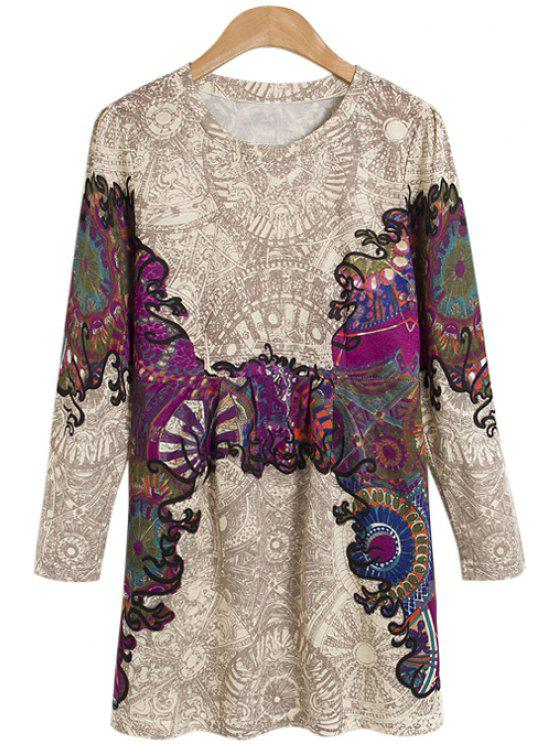 trendy Print Faux Pearl Long Sleeve Dress - COLORMIX S