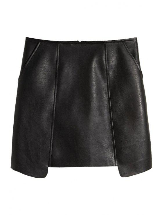 latest PU Leather Asymmetrical Skirt - BLACK S