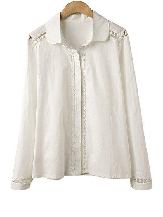 affordable Hollow Long Sleeve Shirt - WHITE S