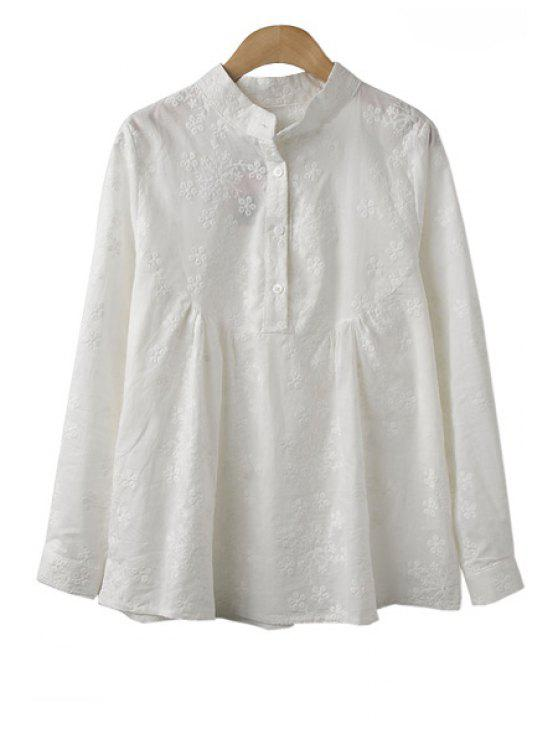 women Floral Embroidery Shirt - WHITE M