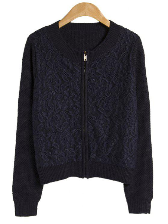 new Solid Color Lace Splicing Coat - PURPLISH BLUE ONE SIZE(FIT SIZE XS TO M)