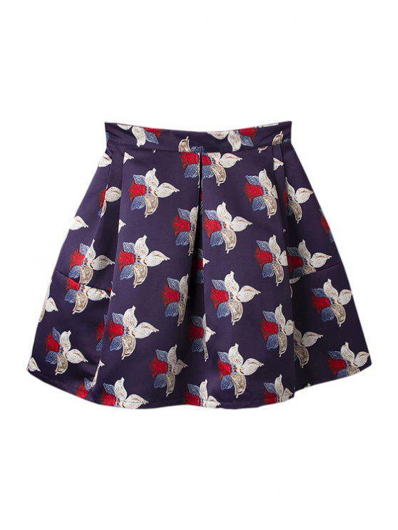 trendy A-Line Full Flower Print Skirt - PURPLISH BLUE S