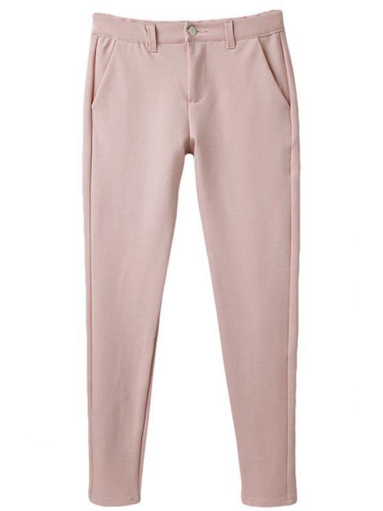 shops Solid Color Narrow Feet Button Pants - PINK 34