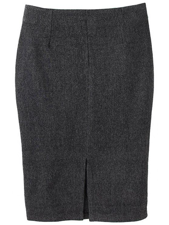 buy Solid Color Slit Pencil Skirt - DEEP GRAY S