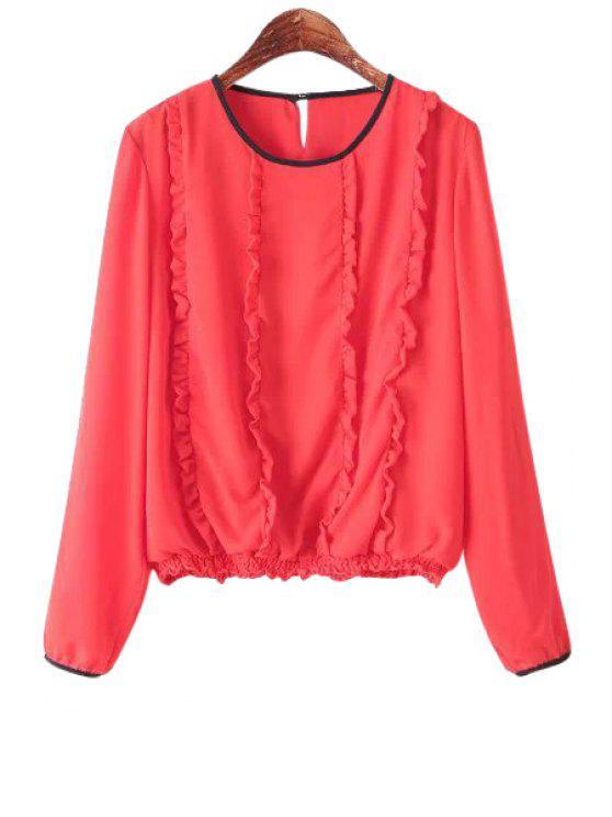 trendy Flounce Splicing Long Sleeve T-Shirt - RED S