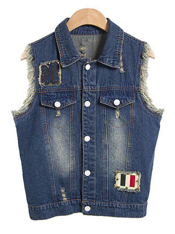 new Turn-Down Collar Denim Waistcoat - ICE BLUE M