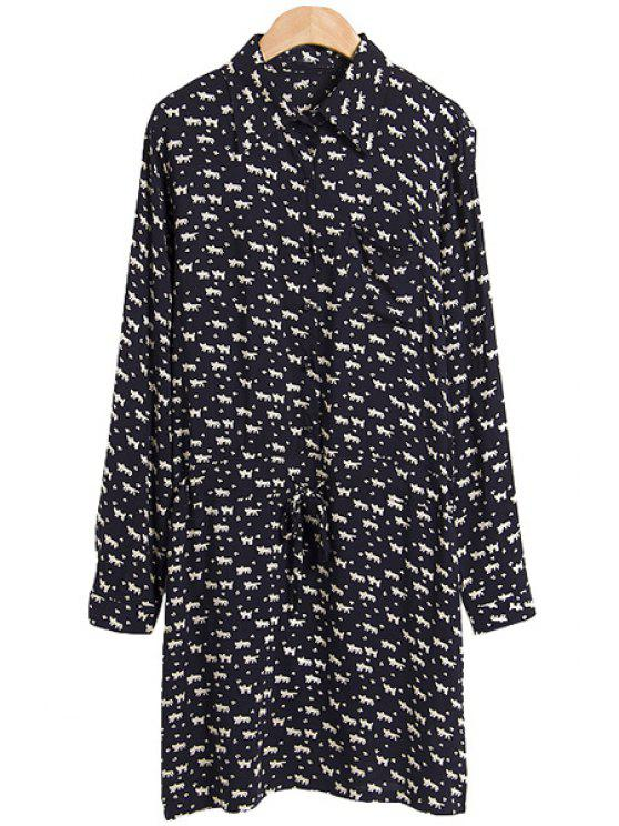 womens Tiny Kitten Print Shirt Collar Dress - BLACK M