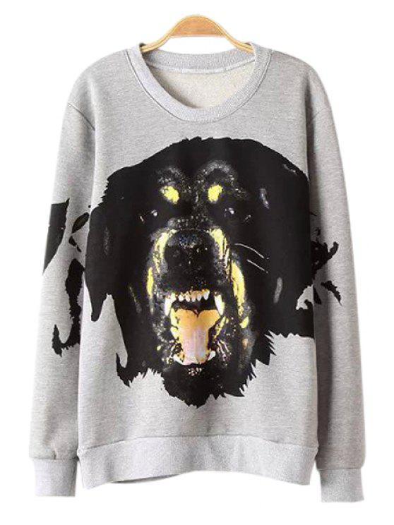 ladies Jewel Neck Dog Print Sweatshirt - GRAY S