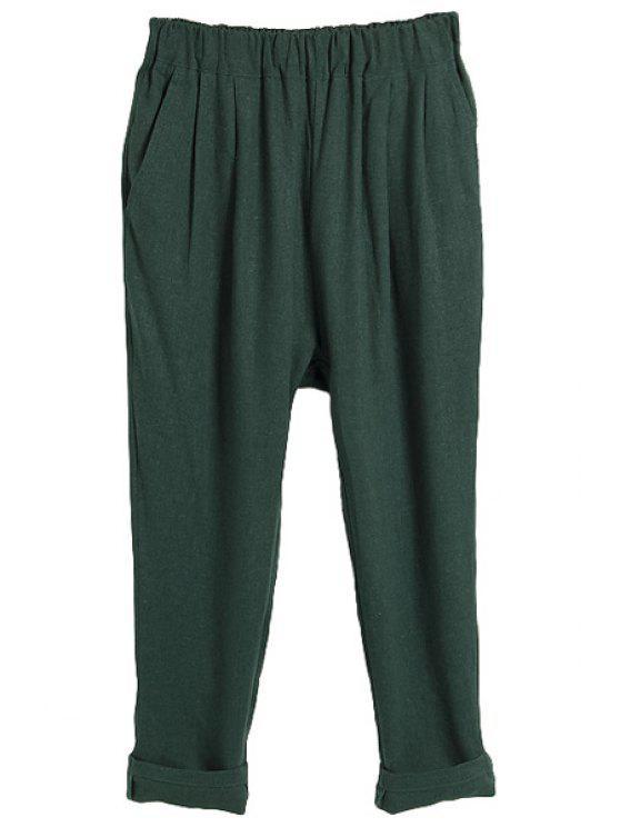 ladies Solid Color Linen Capri Pants - GREEN M