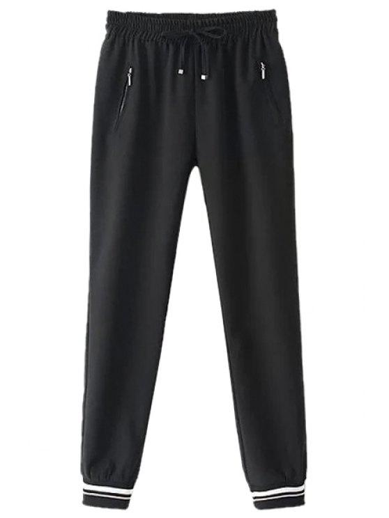 trendy Tie-Up Elastic Waist Pants - BLACK S