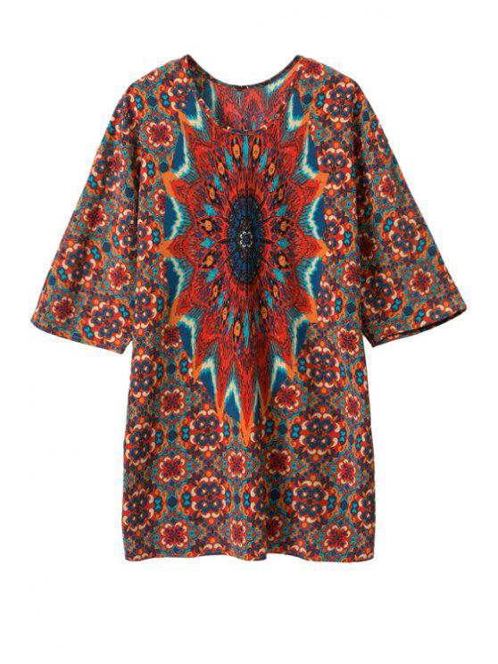 ladies Print Color Block Half Sleeve Dress - RED L