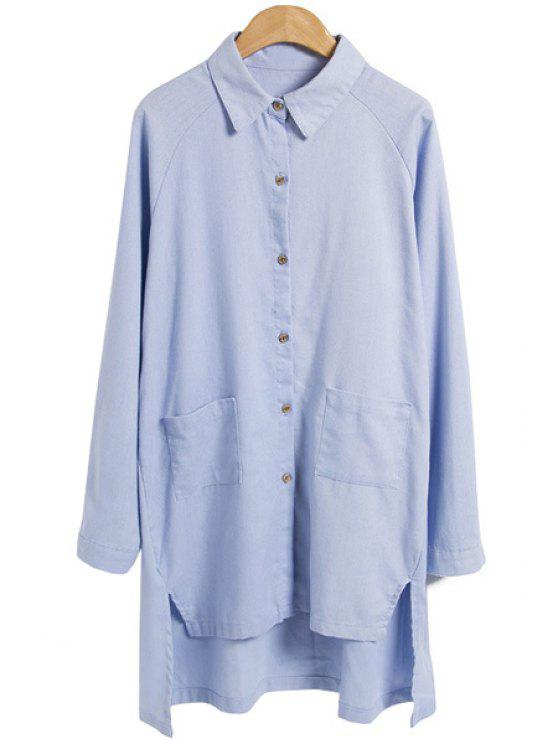 chic Solid Color High-Low Hem Shirt - AZURE M