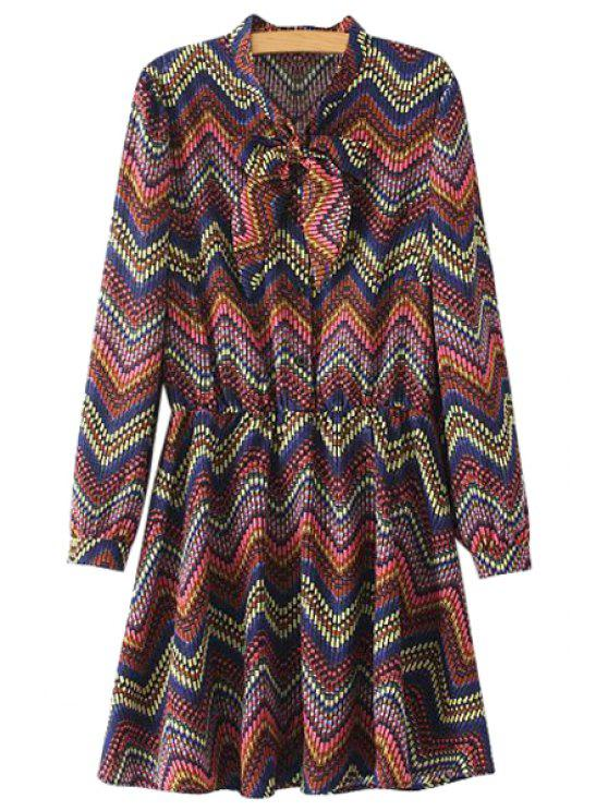 lady Colorful Stripe Bowknot Dress - COLORMIX S