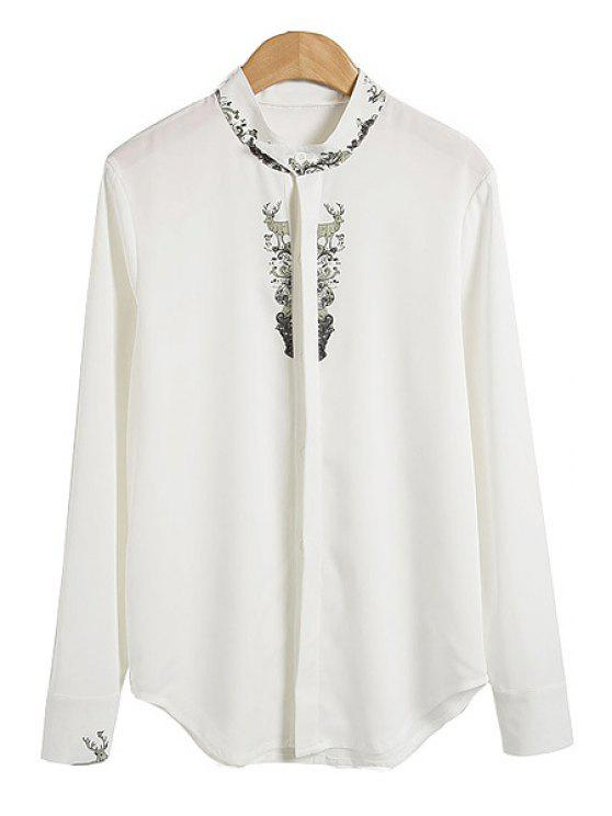 online Deer Print Stand Collar Shirt - WHITE S
