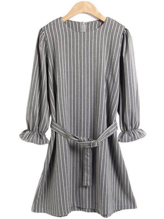 women Striped Long Sleeves Dress - GRAY S