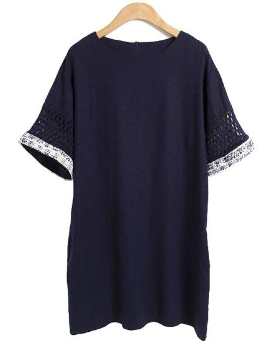 shop Solid Color Short Sleeve Linen Dress - PURPLISH BLUE M