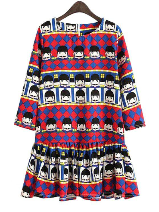 lady Cartoon Figure Print Color Block Dress - RED S