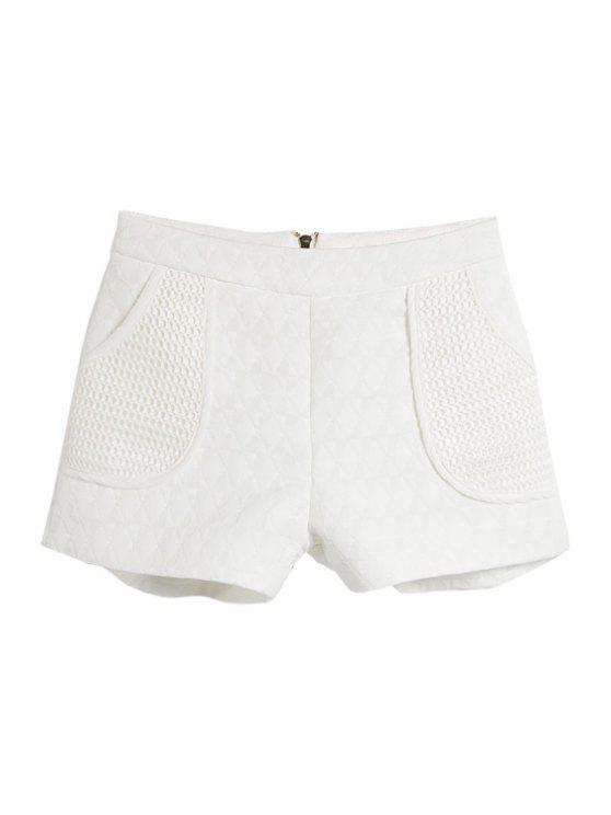 women Solid Color Mesh Splicing Shorts - WHITE S