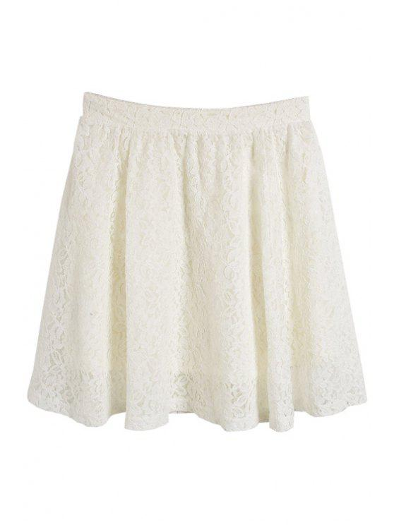 chic Lace Solid Color Skirt - WHITE ONE SIZE(FIT SIZE XS TO M)