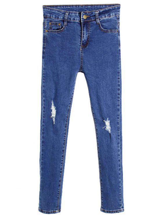 new Blue Broken Hole Skinny Jeans - BLUE 27