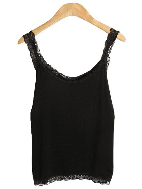 latest Lacework Splicing Hem Tank Top - BLACK ONE SIZE(FIT SIZE XS TO M)