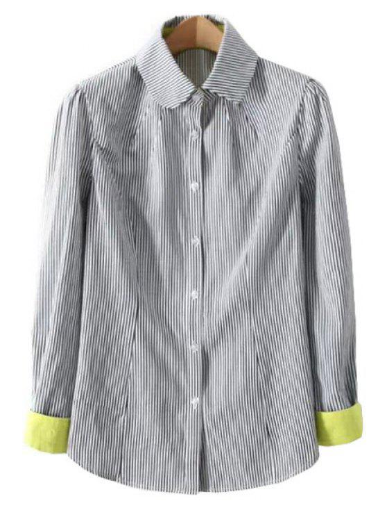 affordable Color Block Stripe Long Sleeve Shirt - BLACK S
