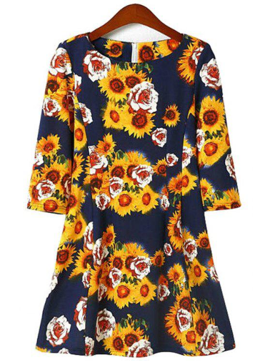 new Floral Print Color Block 3/4 Sleeve Dress - YELLOW S