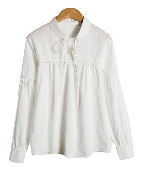 outfits White Long Sleeve Lace-Up Shirt - WHITE M