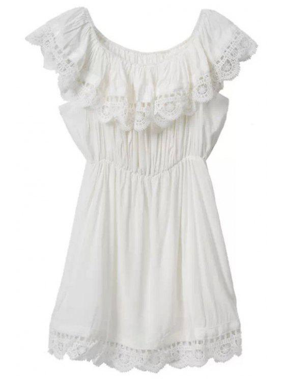 outfits Lace Splicing Solid Color Sleeveless Dress - WHITE S