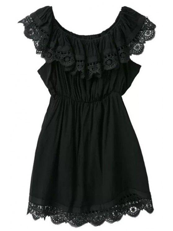 latest Lace Splicing Solid Color Sleeveless Dress - BLACK S