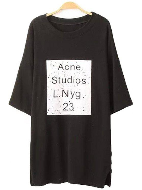lady Letter Print Color Block Half Sleeve T-Shirt - BLACK ONE SIZE(FIT SIZE XS TO M)