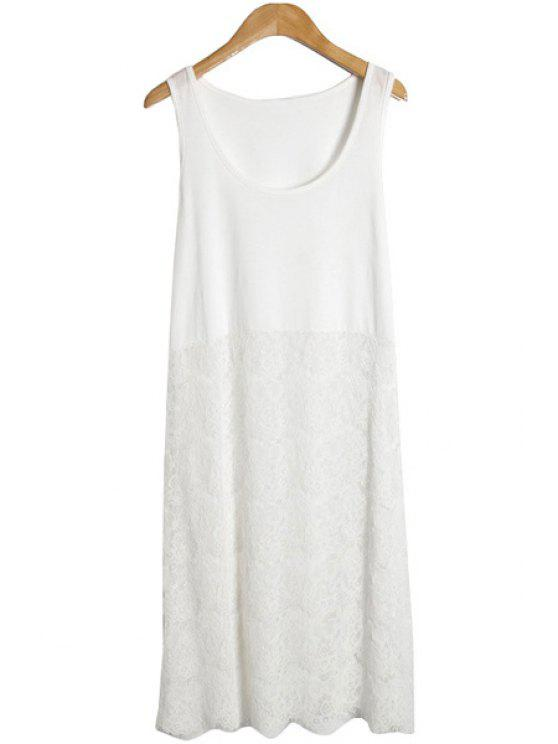chic Lace Splicing Sundress - WHITE ONE SIZE(FIT SIZE XS TO M)