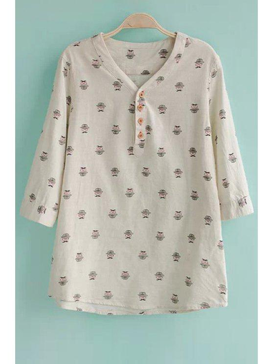 outfit Mustache Print Half Sleeve Shirt - OFF-WHITE S