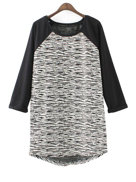 sale Striped Splicing 3/4 Sleeve T-Shirt - WHITE AND BLACK ONE SIZE(FIT SIZE XS TO M)