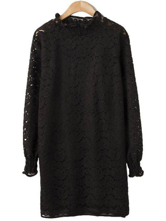 unique Lace Dress and Spaghetti Straps Tank Top Twinset - BLACK M