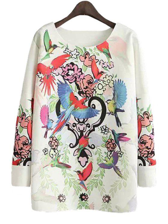 online Colorful Birds Floral Print T-Shirt - WHITE S