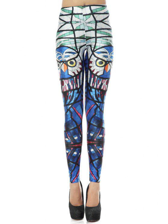 lady Parrot Print Leggings - COLORMIX M