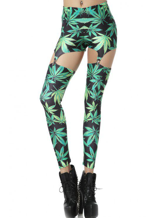best Green Leaf Print Leggings - GREEN ONE SIZE(FIT SIZE XS TO M)
