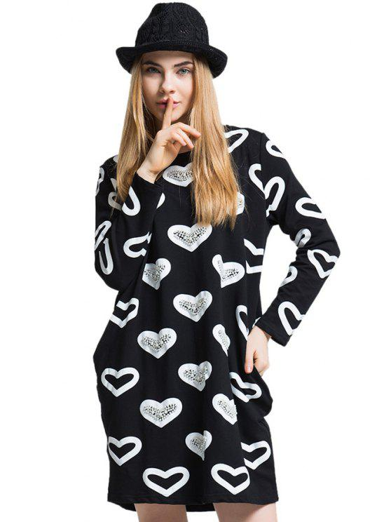 outfit Heart Pattern Faux Pearl T-Shirt - BLACK ONE SIZE(FIT SIZE XS TO M)