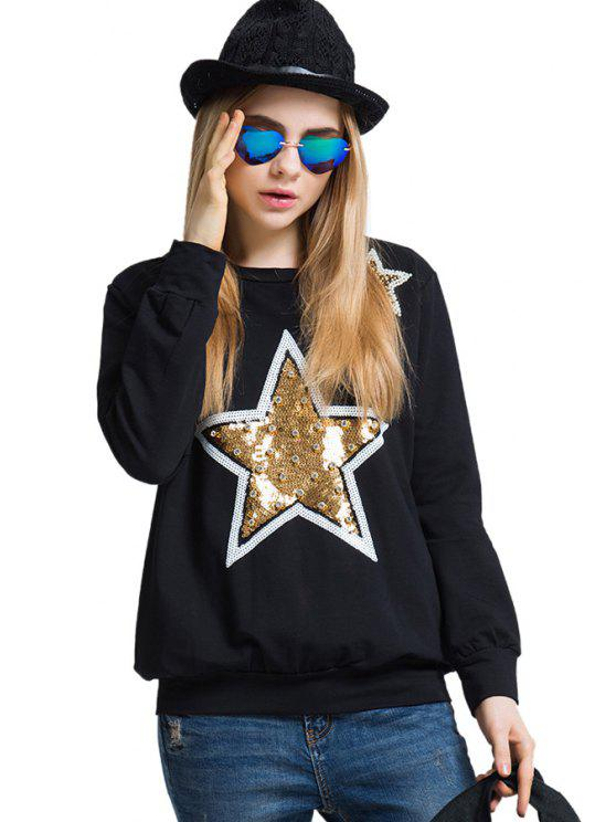 chic Star Pattern Sequins Rhinestone T-Shirt - BLACK ONE SIZE(FIT SIZE XS TO M)