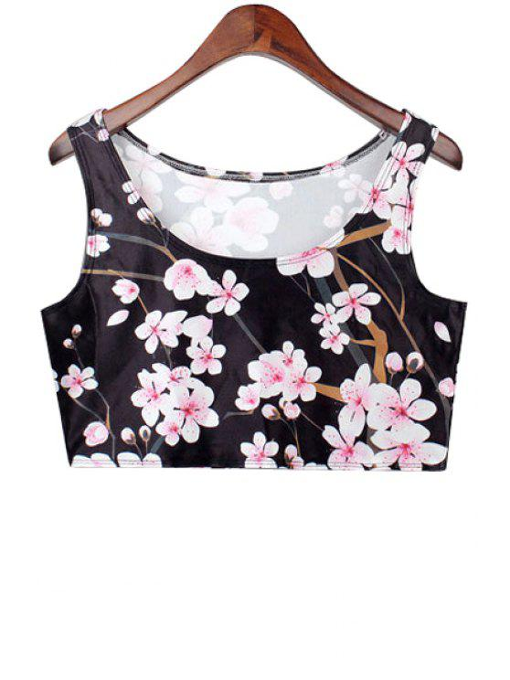 buy Plum Blossom Print Crop Top - BLACK ONE SIZE(FIT SIZE XS TO M)