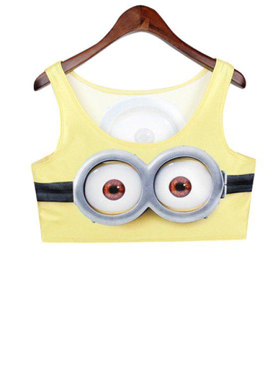 women Cartoon Eye Print Sleeveless Crop Top - YELLOW ONE SIZE(FIT SIZE XS TO M)