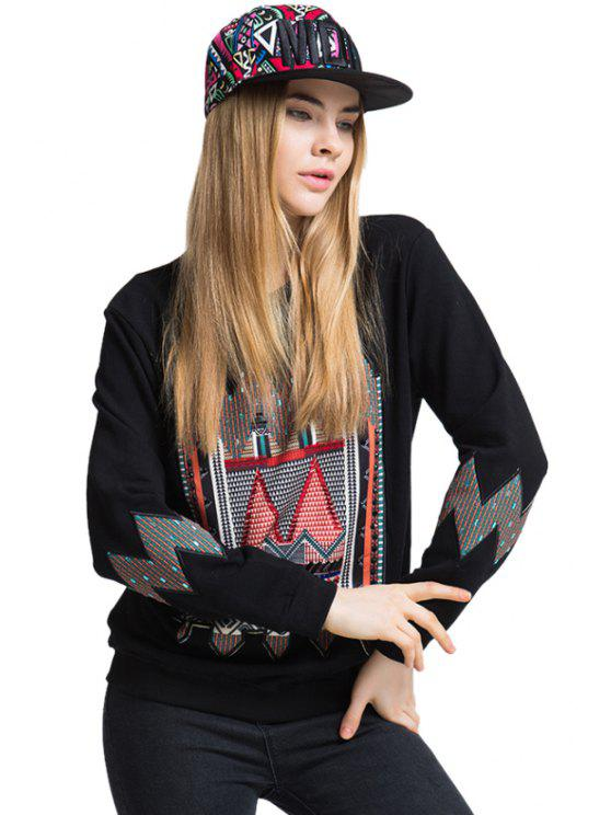 affordable Geometric Pattern Embroidery T-Shirt - BLACK ONE SIZE(FIT SIZE XS TO M)
