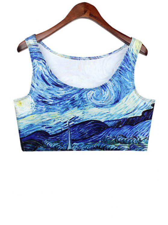 best Painting Print Sleeveless Crop Top - BLUE ONE SIZE(FIT SIZE XS TO M)